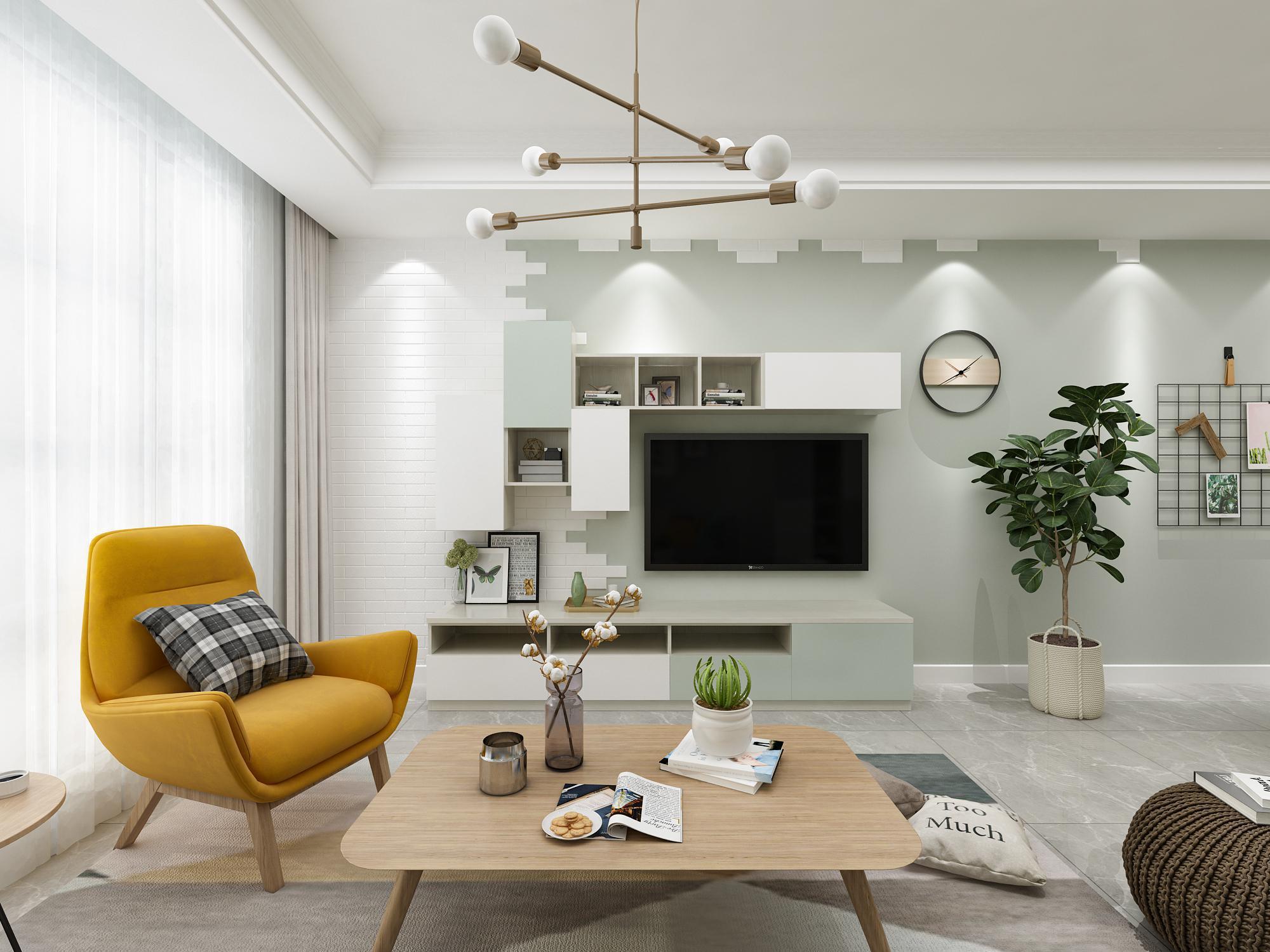 现代北欧系列_客厅_家居产品装修效果图_美尼美定制产品中心
